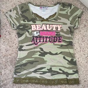 Girls self esteem beauty brains & attitude shirt M